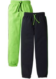Lot de 2 pantalons sweat, bpc bonprix collection, vert fluo/noir