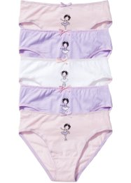 Lot de 5 slips, bpc bonprix collection, blanc/mauve/rose