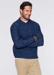 Pull col châle Regular Fit, bpc bonprix collection, bleu foncé chiné