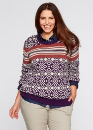 Pull, bpc bonprix collection, marron marsala imprimé