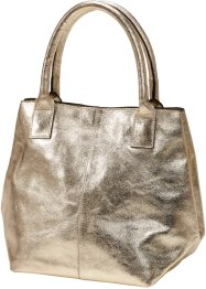 Sac à main en cuir Metallic, bpc bonprix collection, doré métallique