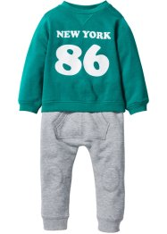 Sweat-shirt bébé + pantalon sweat (Ens. 2 pces.) en coton bio, bpc bonprix collection, émeraude foncé/gris clair chiné