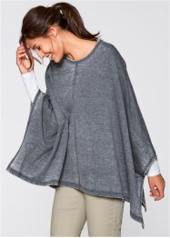 Poncho sweat look usé, bpc bonprix collection, bleu foncé used