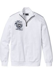 Sweat-shirt col camionneur Regular Fit, bpc selection, blanc