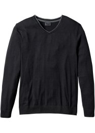 Pull col V à teneur en cachemire Regular Fit, bpc selection, noir