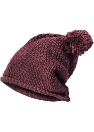 Bonnet à pompon en maille, bpc bonprix collection, bordeaux
