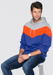 Sweat-shirt à capuche Regular Fit, RAINBOW, gris clair chiné/orange sanguine/bleu saphir