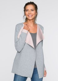 Gilet sweat-shirt, RAINBOW, gris chiné/rose poudré