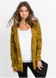 Gilet sweat-shirt imprimé, RAINBOW, jaune moutarde/noir imprimé