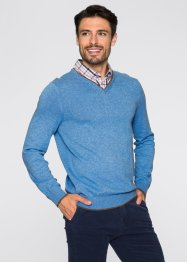 Pull avec col chemise Regular Fit, bpc selection, gris chiné