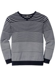 Pull rayé col en V Regular Fit, bpc bonprix collection, bleu foncé/blanc rayé
