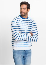 Pull rayé Regular Fit, bpc bonprix collection, blanc/bleu azur rayé