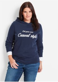 Sweat-shirt, bpc bonprix collection, bleu foncé imprimé