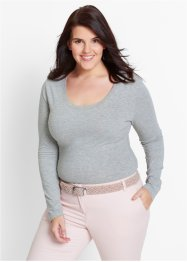 Body extensible manches longues, bpc bonprix collection, gris clair chiné