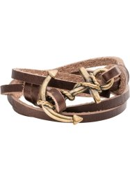 Bracelet en cuir Ancre, bpc bonprix collection, marron