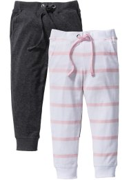 Lot de 2 pantalons en jersey, bpc bonprix collection, rose poudré/blanc rayé+anthracite chiné