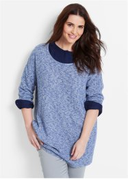 Pull boxy manches longues, bpc bonprix collection, indigo chiné