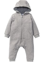 Combinaison bébé en sweat avec capuche coton bio, bpc bonprix collection, gris clair chiné