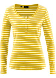 T-shirt henley, bpc bonprix collection, jaune tulipe/blanc rayé