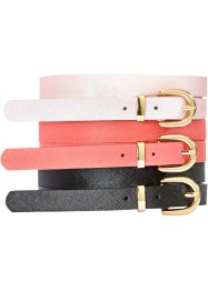 Set de 3 ceintures, bpc bonprix collection, corail/rose métallique/noir