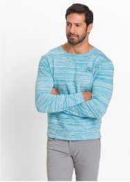 Pull Regular Fit, bpc selection, turquoise/blanc cassé chiné