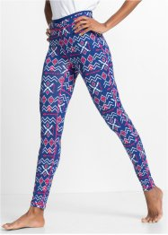 Legging fonctionnel long, bpc bonprix collection, bleu gentiane à motifs