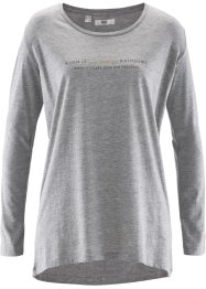 T-shirt court-long, manches longues, bpc bonprix collection, gris clair chiné imprimé