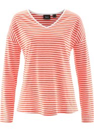 T-shirt manches longues, bpc bonprix collection, rouge mandarine/blanc rayé