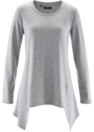Sweat-shirt finition base en pointes manches longues, bpc bonprix collection, gris clair chiné