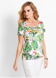 T-shirt, bpc selection, blanc/imprimé multicolore