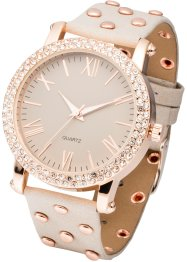 Montre-bracelet avec des rivets, bpc bonprix collection, gris/or rose