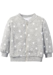 Gilet sweat bébé en coton bio, bpc bonprix collection, gris clair chiné