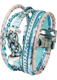 Bracelet multirangs, bpc bonprix collection, argenté/bleu