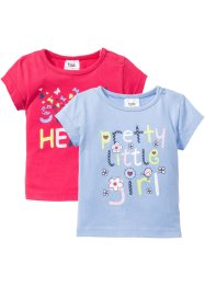 Lot de 2 T-shirts bébé en coton bio, bpc bonprix collection, bleu nacre/fuchsia