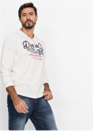 T-shirt manches longues encolure en V Regular Fit, John Baner JEANSWEAR, blanc cassé