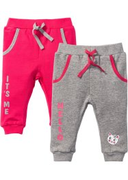 Lot de 2 pantalons sweat bébé en coton bio, bpc bonprix collection, gris clair chiné/rose hibiscus