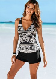 Top de tankini, bpc selection, noir/blanc/gris