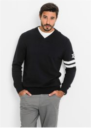 Pull col en V Regular Fit, bpc bonprix collection, noir