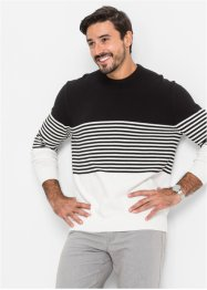 Pull rayé Regular Fit, bpc selection, noir/blanc rayé