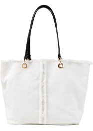 Sac avec bordure effilochée, bpc bonprix collection, blanc