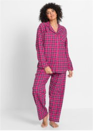 Pyjama en flanelle, bpc bonprix collection, fuchsia à carreaux