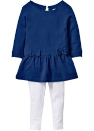 Robe sweat-shirt imitation jean + legging (Ens. 2 pces.), bpc bonprix collection, bleu jean/blanc