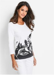 T-shirt manches 3/4, bpc selection, blanc/noir