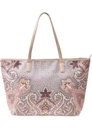 Shopper paisley avec strass, bpc bonprix collection, marron/orange
