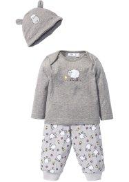 T-shirt bébé à manches longues + pantalon en jersey + bonnet (Ens. 3 pces.) coton bio, bpc bonprix collection