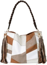 Sac patchwork Summer, bpc bonprix collection, crème/marron/cognac/blanc