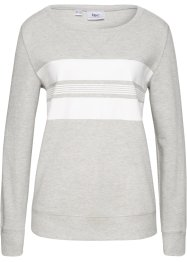 Sweat-shirt, bpc bonprix collection, gris clair chiné/blanc imprimé
