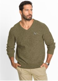 Pull col en V Regular Fit, bpc selection, vert kaki