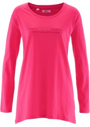 T-shirt court-long, manches longues, bpc bonprix collection, rose hibiscus imprimé