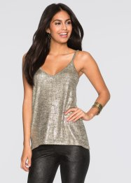Top brillant, BODYFLIRT, beige/doré chiné